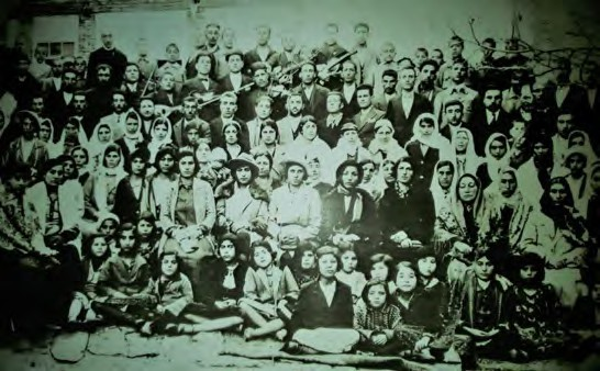 An historical picture of the Jewish community of Urmia celebrating Reza Shah's command of lifting women's Hejāb, January 1936